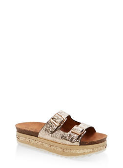 Metallic Faux Leather Platform Sandals with Glitter Footbed - GOLD PU - 1110004065231