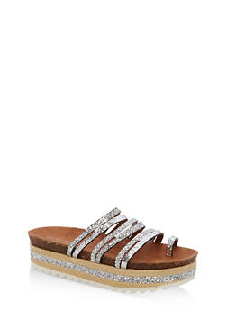Braided Glitter Strappy Platform Sandals - SILVER MULTI - 1110004065232