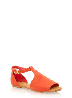 Flat Mule Sandals with Adjustable Ankle Strap - 1110004065367