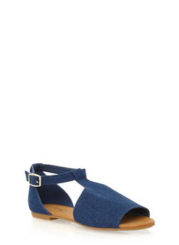 Flat Mule Sandals with Adjustable Ankle Strap - BLUE DENIM - 1110004065367
