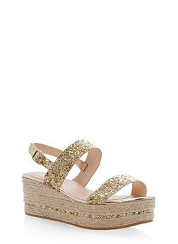 Espadrille Platform Sandals with Glitter Straps - GOLD GLITTER - 1110004065693