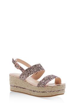 Espadrille Platform Sandals with Glitter Straps - BLUSH GLITTER - 1110004065693