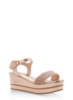 Mesh Strap Platform Wedge Sandals - ROSE GOLD MWP - 1110004065694