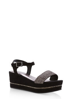 Mesh Strap Platform Wedge Sandals - BLACK F/S - 1110004065694