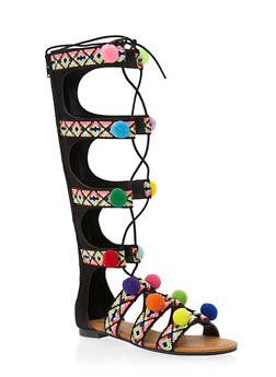 Gladiator Sandals with Embroidery and Pom Poms - BLACK F/S - 1110004066220