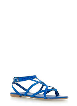 Studded Strappy Sandals - BLUE F/S - 1110004066221