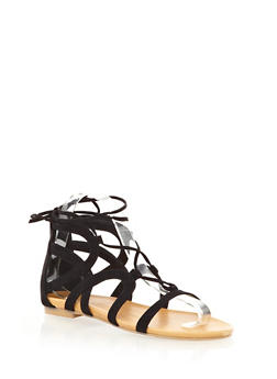 Shimmery Metallic Short Lace-Up Gladiator Sandals With Ankle Tie - 1110004066285
