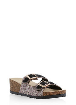 Double Strap Glitter Footbed Wedge Sandals - BLUSH GLITTER - 1110004066287