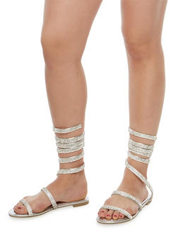 Coiled Rhinestone Studded Sandals - SILVER MWP - 1110004066296