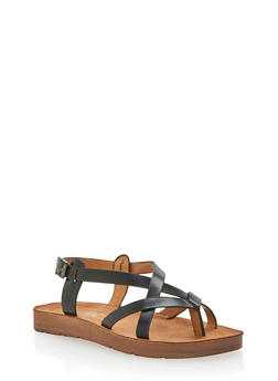 Faux Leather Strappy Thong Sandals - 1110004066300