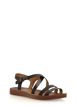 Double Strap Asymmetrical Sandals - 1110004066301
