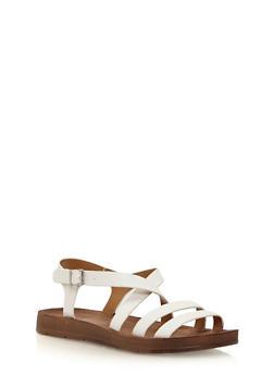 Double Strap Asymmetrical Sandals - WHITE PU - 1110004066301