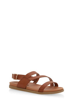 Asymmetrical Strap Sling Back Sandals - 1110004066476