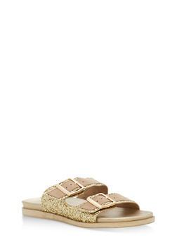 Double Buckle Glitter Slide Sandals - GOLD GLITTER - 1110004066477