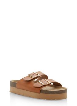 Double Buckle Slide Sandals - TAN BNH - 1110004066480