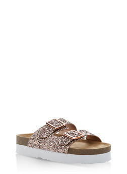 Double Buckle Slide Sandals - 1110004066480
