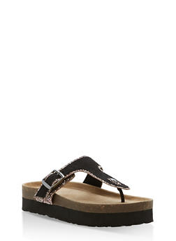 Glitter Trim Platform Thong Sandals - BLACK BLUSH - 1110004066481