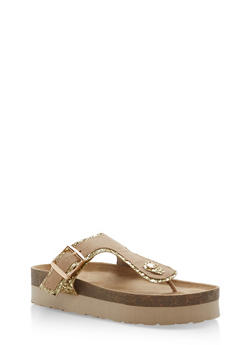 Glitter Trim Platform Thong Sandals - GOLD GLITTER - 1110004066481