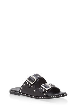 Studded Double Strap Sandals - BLACK CRP - 1110004066505
