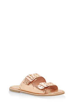 Studded Double Strap Sandals - ROSE GOLD CMF - 1110004066505