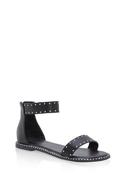 Studded Ankle Strap Sandals - BLACK BNH - 1110004066507