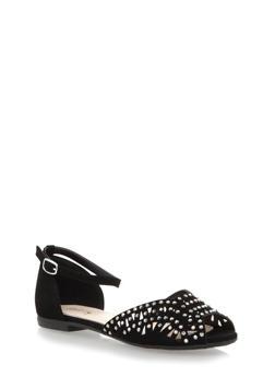 Perforated Rhinestud Ankle Strap Flats,BLACK NB,medium