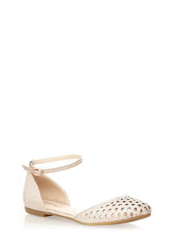 Glitter Ankle-Strap Flats with Faux Jewel Accents,ROSE GOLD,medium