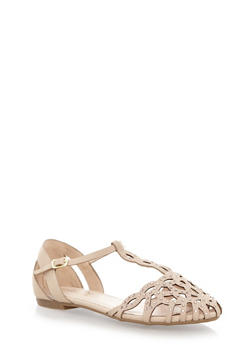 T-Strap Sandals with Caged Front and Faux Jewel Accents,NUDE,medium