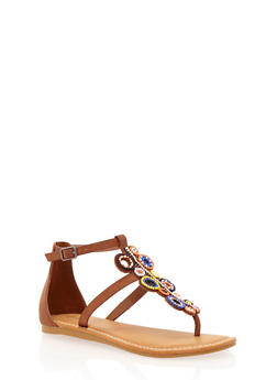 Thong Sandals with Beaded T Strap - TAN BURNISH - 1110004067234