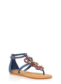 Thong Sandals with Beaded T Strap - BLUE DENIM - 1110004067234