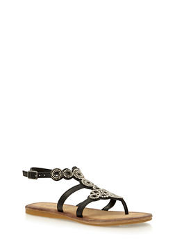 Beaded Thong Sandals - BLACK BURNISH - 1110004067236