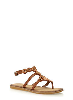 Beaded Thong Sandals - TAN BURNISH - 1110004067236