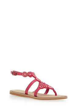 Beaded Thong Sandals - FUCHSIA BURNISH - 1110004067236