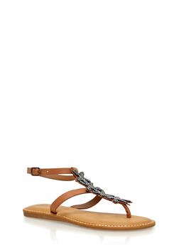 Beaded T Strap Thong Sandals - TAN BURNISH - 1110004067237