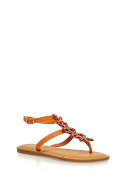 Beaded T Strap Thong Sandals - ORANGE BURNISH - 1110004067237