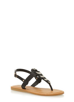 Thong Sandals with Beading Detail - BLACK BURNISH - 1110004067239