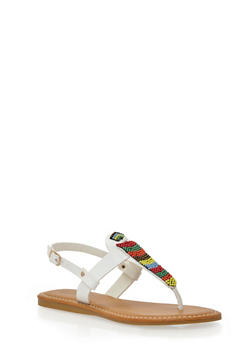 Thong Sandals with Beading Detail - WHITE BURNISH - 1110004067239