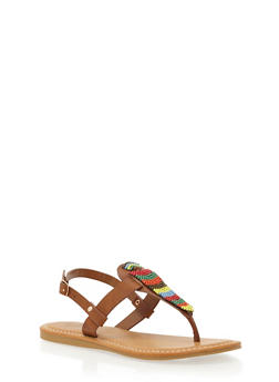 Thong Sandals with Beading Detail - TAN BURNISH - 1110004067239