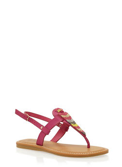 Thong Sandals with Beading Detail - FUCHSIA BURNISH - 1110004067239