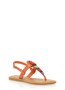 Thong Sandals with Beading Detail - ORANGE BURNISH - 1110004067239