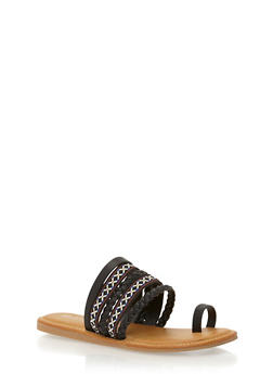 Embroidered Strappy Toe Ring Slide Sandals - BLACK BURNISH - 1110004067240