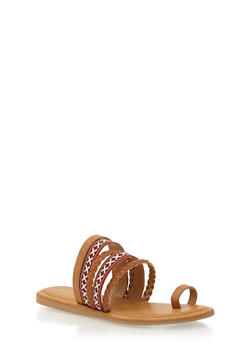 Embroidered Strappy Toe Ring Slide Sandals - TAN BURNISH - 1110004067240