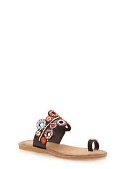 Slip On Toe Ring Sandals with Beaded Details - BLACK BURNISH - 1110004067241