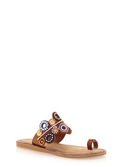 Slip On Toe Ring Sandals with Beaded Details - TAN BURNISH - 1110004067241