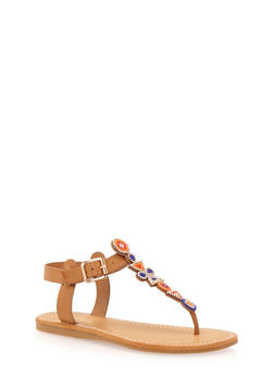 Aztec Beaded Thong Sandals - NATURAL - 1110004067242