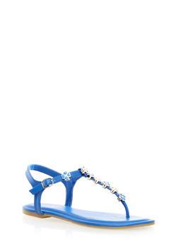 T-Strap Sandals with Metallic Shamrock Accents,BLUE,medium