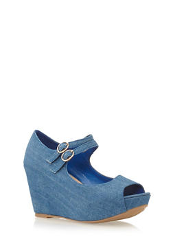 Wedge Peep Toe Heels - 1110004067274