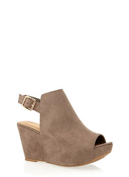 Slingback Platform Wedge with Open Toe - 1110004067278