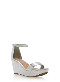 Metal Strap Wedge Sandals - SILVER CMF - 1110004067283