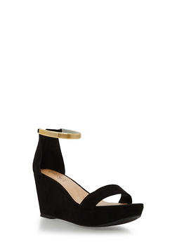 Metal Strap Wedge Sandals - BLACK F/S - 1110004067283